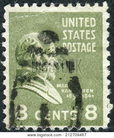 USA - CIRCA 1938: Postage stamps printed in USA shows 8th President of the United States Martin Van Buren circa 1938