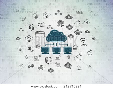 Cloud computing concept: Painted blue Cloud Network icon on Digital Data Paper background with  Hand Drawn Cloud Technology Icons