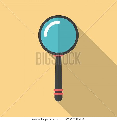 Magnifier icon with long shadow. Flat design style. Magnifying glass simple silhouette. Modern minimalistic icon in stylish colors. Web site page and mobile app design vector element.