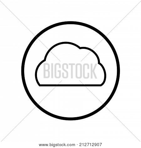 Vector Of Cloud Icon In Circle Line - Vector Iconic Design