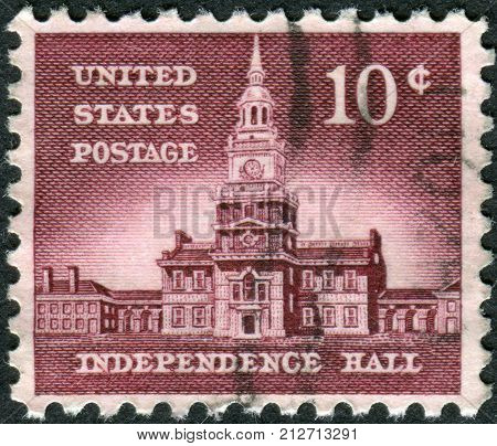 USA - CIRCA 1956: Postage stamps printed in USA Allied Nations Issue shows Independence Hall in Philadelphia circa 1956