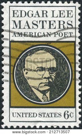 USA - CIRCA 1970: A postage stamp printed in USA shows Edgar Lee Masters (1869-1950) Poet circa 1970