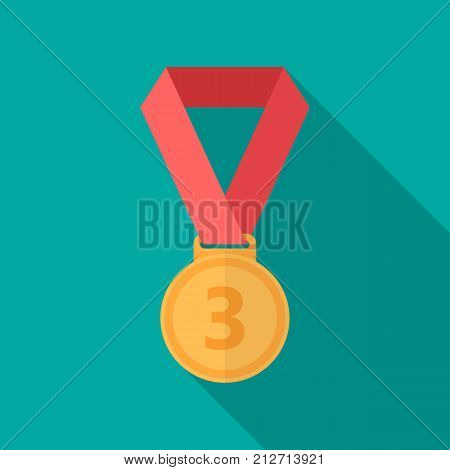 Bronze medal icon with long shadow. Flat design style. Bronze medal simple silhouette. Modern minimalist icon in stylish colors. Web site page and mobile app design vector element.