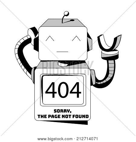 The page you requested could not be found 404 error. Background on the robot. Vector illustration.