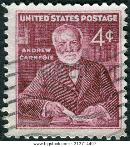 USA - CIRCA 1960: A postage stamp printed in USA shows Andrew Carnegie industrialist and philanthropist circa 1960