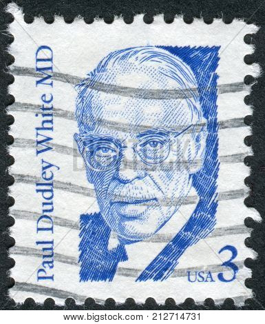 USA - CIRCA 1986: A postage stamp printed in USA shows a portrait of American physician and cardiologist Paul Dudley White circa 1986