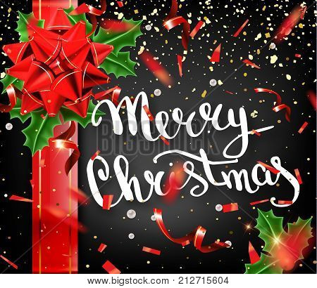 Merry Christmas Lettering Greeting Card For Holiday. Gold Shining. Decoration Ornament With With Sno