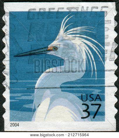 USA - CIRCA 2004: Postage stamp printed in the USA shows a Snowy Egret (Egretta thula) circa 2004