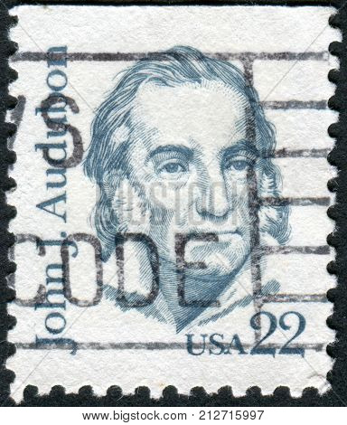 Usa - Circa 1985: Postage Stamp Printed In The Usa, Shows A French-american Ornithologist, Naturalis