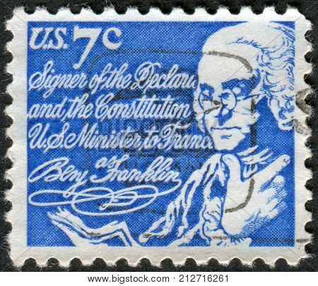 USA - CIRCA 1972: Postage stamp printed in the USA a portrait of 6th President of Pennsylvania the founder of the United States Benjamin Franklin circa 1972
