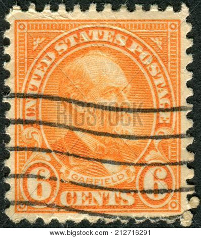 USA - CIRCA 1922: Postage stamps printed in USA shows a portrait 20th President of the United States James Abram Garfield circa 1922
