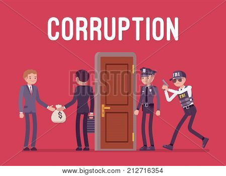 Officials arrested in corruption case. Police ready to disclose the act of giving money, bribery for dishonest business authority. Vector flat style cartoon illustration isolated on red background