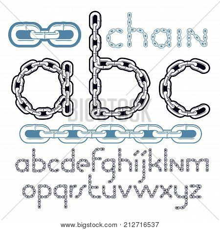 Vector type font script from a to z. Lower case creative letters abc made with steel chain link joined link.