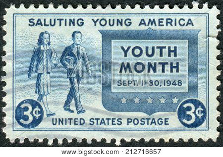 USA - CIRCA 1948: Postage stamp printed in the USA Salute to Youth Issue Youth of America and