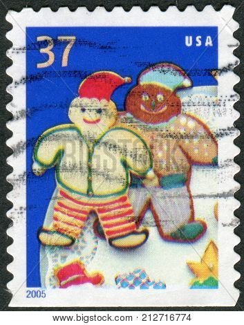 USA - CIRCA 2005: Postage stamps printed in USA Christmas Issue shows a Christmas Cookies Elves circa 2005
