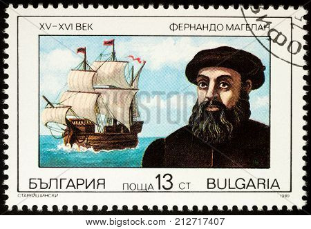 Moscow Russia - November 07 2017: A stamp printed in Bulgaria shows Captain Ferdinand Magellan (1480-1501) and his ship Trinidad series