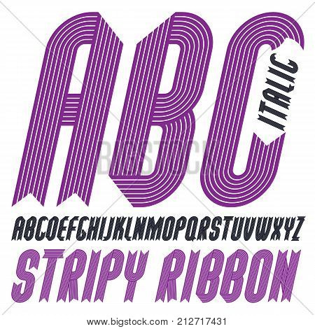 Vector trendy modern uppercase alphabet letters abc collection. Classic italic condensed bold type font script from a to z can be used for logo creation. Made with stripy decoration.