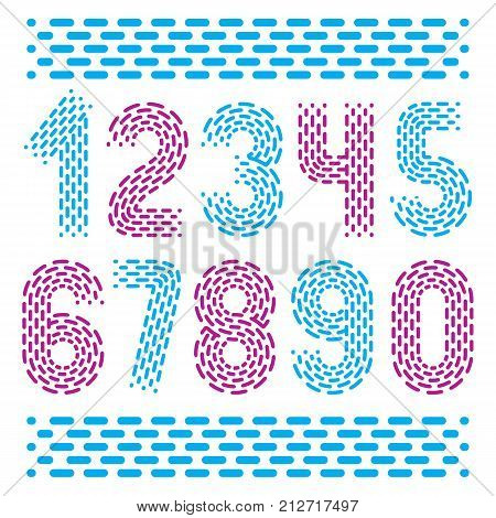 Vector numbers modern numerals set. Rounded bold retro numeration from 0 to 9 can be used for logo creation. Created using dashes parallel lines.