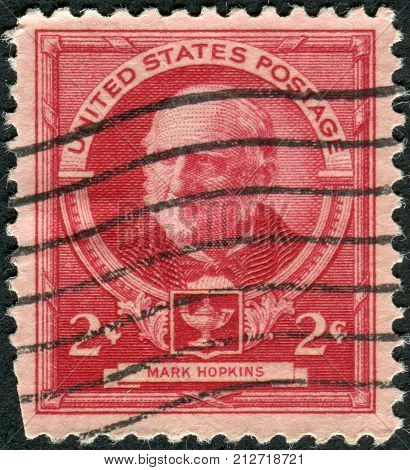 USA - CIRCA 1940: Postage stamp printed in the USA shows a portrait of an American educator and theologian Mark Hopkins circa 1940