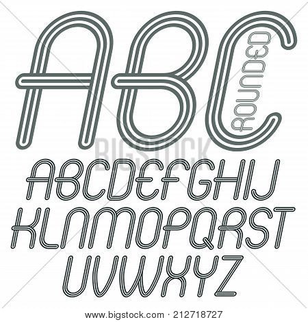 Set of disco vector upper case English alphabet letters abc isolated. Funky italic rounded font typescript for use in logo design. Made with geometric parallel triple lines.