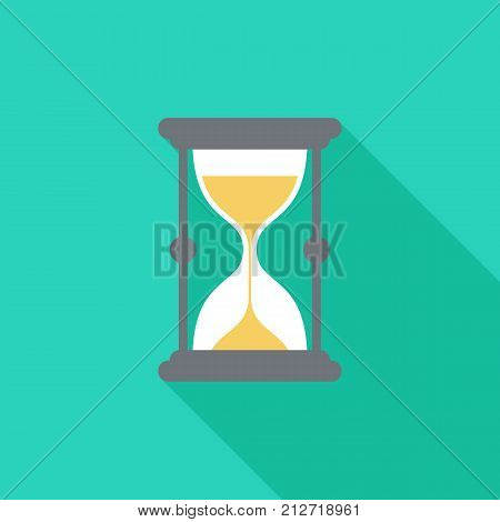 Sand watch icon with long shadow. Flat design style. Sand watch simple silhouette. Modern minimalist icon in stylish colors. Web site page and mobile app design vector element.