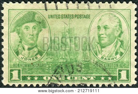 Usa - Circa 1936: Postage Stamp Printed In Usa, Navy Issue, Shows John Paul Jones And John Barry, Ci