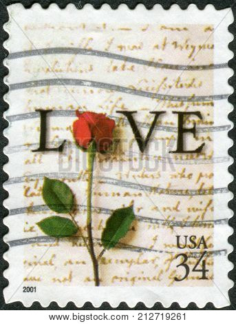 Usa - Circa 2001: Postage Stamp Printed In Usa, Shows Rose, Apr. 20, 1763 Love Letter By John Adams,