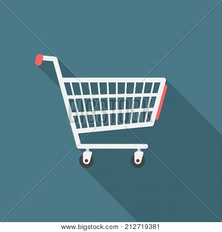 Shopping cart icon with long shadow. Flat design style. Shopping cart simple silhouette. Modern minimalist icon in stylish colors. Web site page and mobile app design vector element.