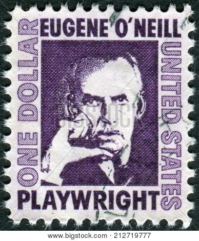 USA - CIRCA 1967: A postage stamp printed in USA shows an Irish American playwright and Nobel laureate in Literature Eugene Gladstone O'Neill circa 1967