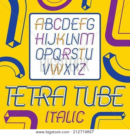 Set of cool vintage vector upper case English alphabet letters isolated. Special italic type font script from a to z can be used in poster creation. Made using cube tetra tube design.