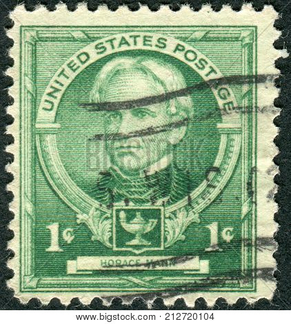 USA - CIRCA 1940: Postage stamps printed in USA shows an American education reformist Horace Mann circa 1940