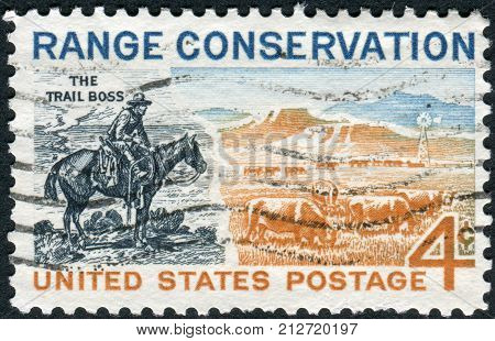 USA - CIRCA 1961: Postage stamps printed in USA Range Conservation Issue shows