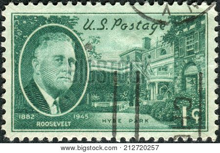 USA - CIRCA 1945: Postage stamp printed in the USA shows a portrait of 32th President of the United States Franklin Delano Roosevelt Hyde Park Home circa 1945