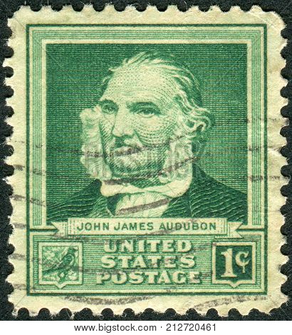 USA - CIRCA 1940: Postage stamp printed in the USA shows a French-American ornithologist naturalist and painter John James Audubon circa 1940