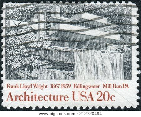 USA - CIRCA 1982: A postage stamp printed in USA shows Fallingwater Mill Run Pennsylvania by Frank Lloyd Wright circa 1982