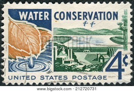 USA - CIRCA 1960: A postage stamp printed in USA Water Conservation Issue shows Water from Watershed to Consumer circa 1960
