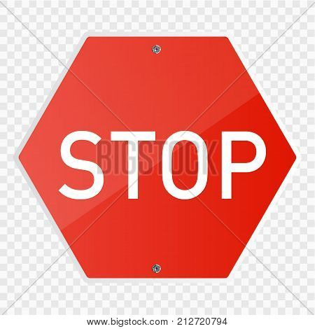 Stop sign isolated. Vector illustration. Road sign
