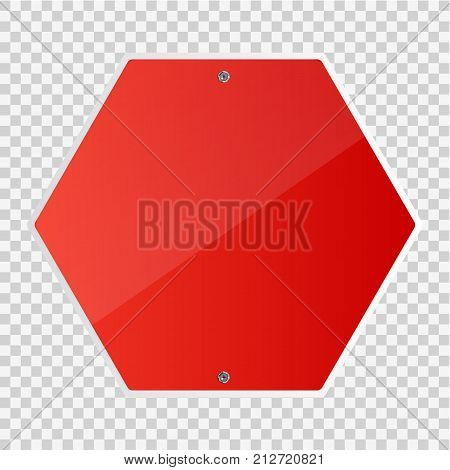 Blank Stop sign isolated. Vector illustration. Road sign