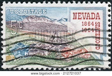 Usa - Circa 1964: Postage Stamp Printed In Usa, Is Dedicated To Nevada Statehood Centenary, Shows Vi
