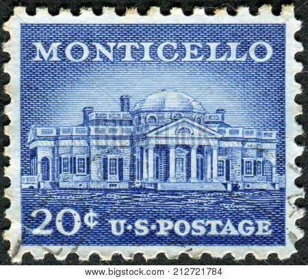 Usa - Circa 1956: Postage Stamp Printed In Usa, Shows Monticello - The Primary Plantation Of Thomas