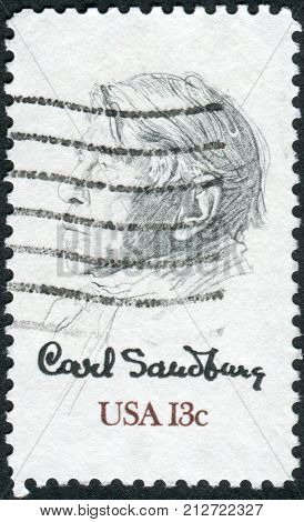 Usa - Circa 1978: Postage Stamp Printed In Usa, Shows The Poet, Biographer And Collector Of American