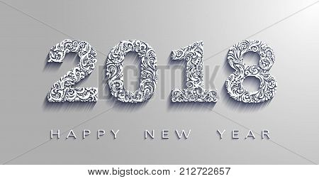happy new year 2018 the year of the dog.3d effect Vector white paperorigami design. Design elements for holiday cards.