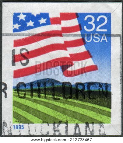 Usa - Circa 1995: Postage Stamp Printed In Usa, Shows Flag Over Field, Circa 1995