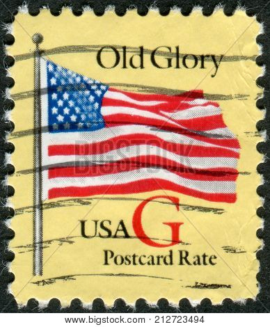 Usa - Circa 1994: Postage Stamp Printed In Usa, Shows The National Flag