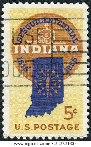 Usa - Circa 1966: Postage Stamp Printed In Usa, Is Dedicated To Indiana Statehood Sesquicentennial,