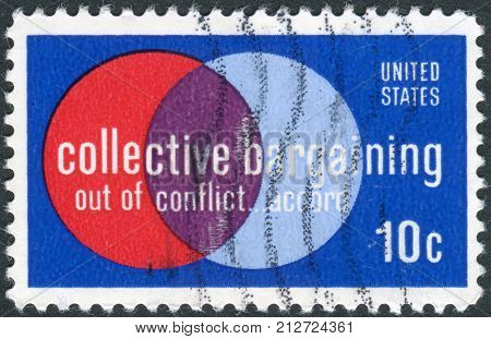 Usa - Circa 1975: Postage Stamp Printed In Usa, Collective Bargaining Issue, Shows
