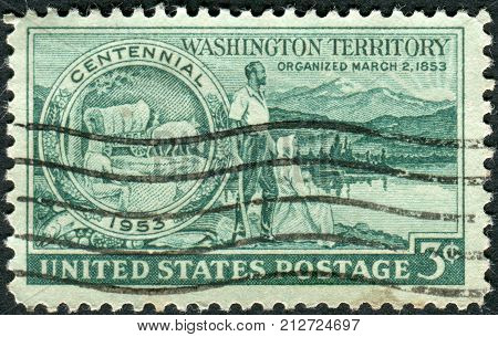 Usa - Circa 1953: Postage Stamp Printed In Usa, Dedicated To The Centenary Of The Organization Of Wa