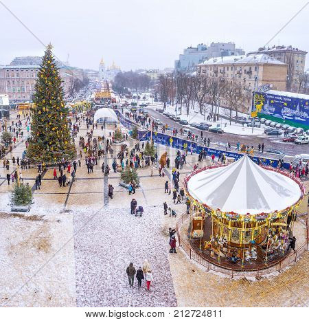 Christmas Festivity With Main Christmas Tree, Market Stalls And Carousels