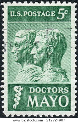 Usa - Circa 1964: Postage Stamp Printed In Usa, Shows Drs. William And Charles Mayo, A Sculpture By