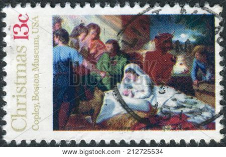 Usa - Circa 1976: Postage Stamp Printed In Usa, Christmas Issue, Shows A Picture Of The Boston Museu